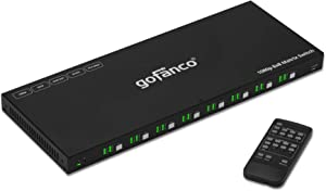 gofanco 8x8 HDMI Matrix Switch – Up to 1080p, 3D, HDMI 1.3a, HDCP 1.4, Smart EDID - Control Options; Buttons, IR, GUI, RS232-8 in 8 Out Video Switcher and Splitter - Firmware Upgradable (Matrix88)