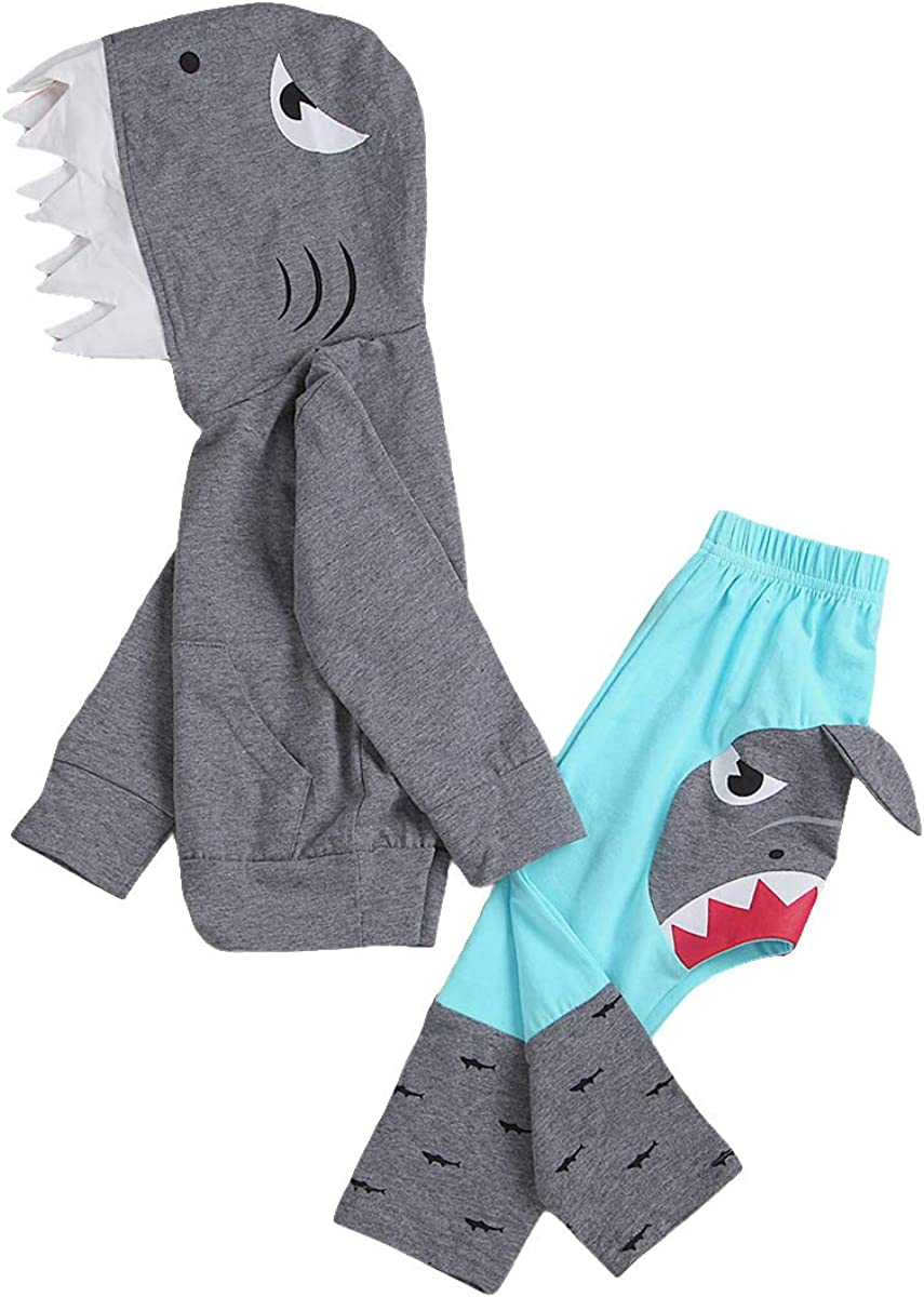 Unisex Baby Autumn Winter Shark Hooded Sweatshirt Boys Girls Hoodies with Kangaroo Muff Pockets & Shark Fin
