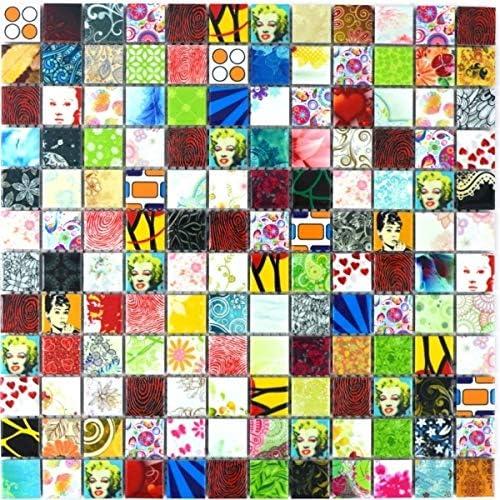 Carrelage mosa/ïque multicolore r/étro POP UP Marilyn Monroe c/éramique MOS18D-1605