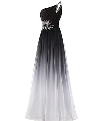 CutieTell One Shoulder Pleated Gradient Long Evening Prom Dresses Chiffon Wedding Party Gowns US2 Gradient&White