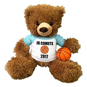 3f27ee1a1fe Amazon.com  Personalized Basketball Teddy Bear - 14 inch Fuzzy Brown Bear   Toys   Games