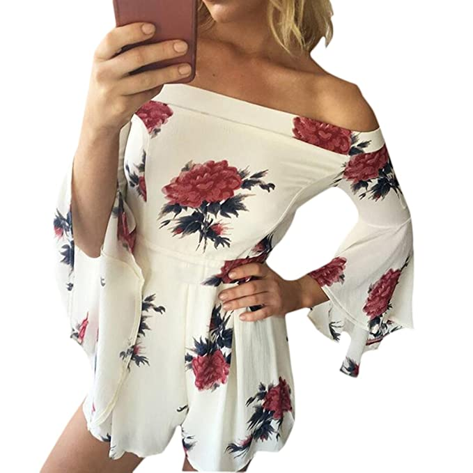 76035f0d016d Amazon.com  Womens Off Shoulder Romper Floral Print Flare Sleeve Short Jumpsuit  Navyblue S  Clothing