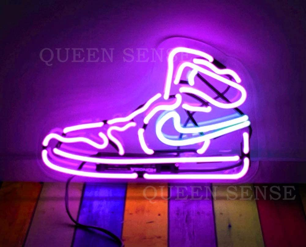 Purple Air Boot Sneakers Shoe Neon Sign