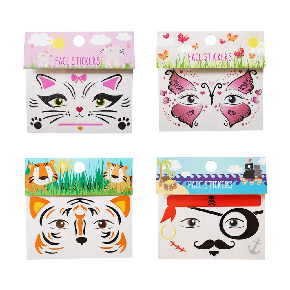 Luxanna 4 Pack Self Adhesive Face Sticker, Rave Festival Temporary Face Tattoo Kits, Forehead, Leg, Nails, Body Decorations Cute (style2)