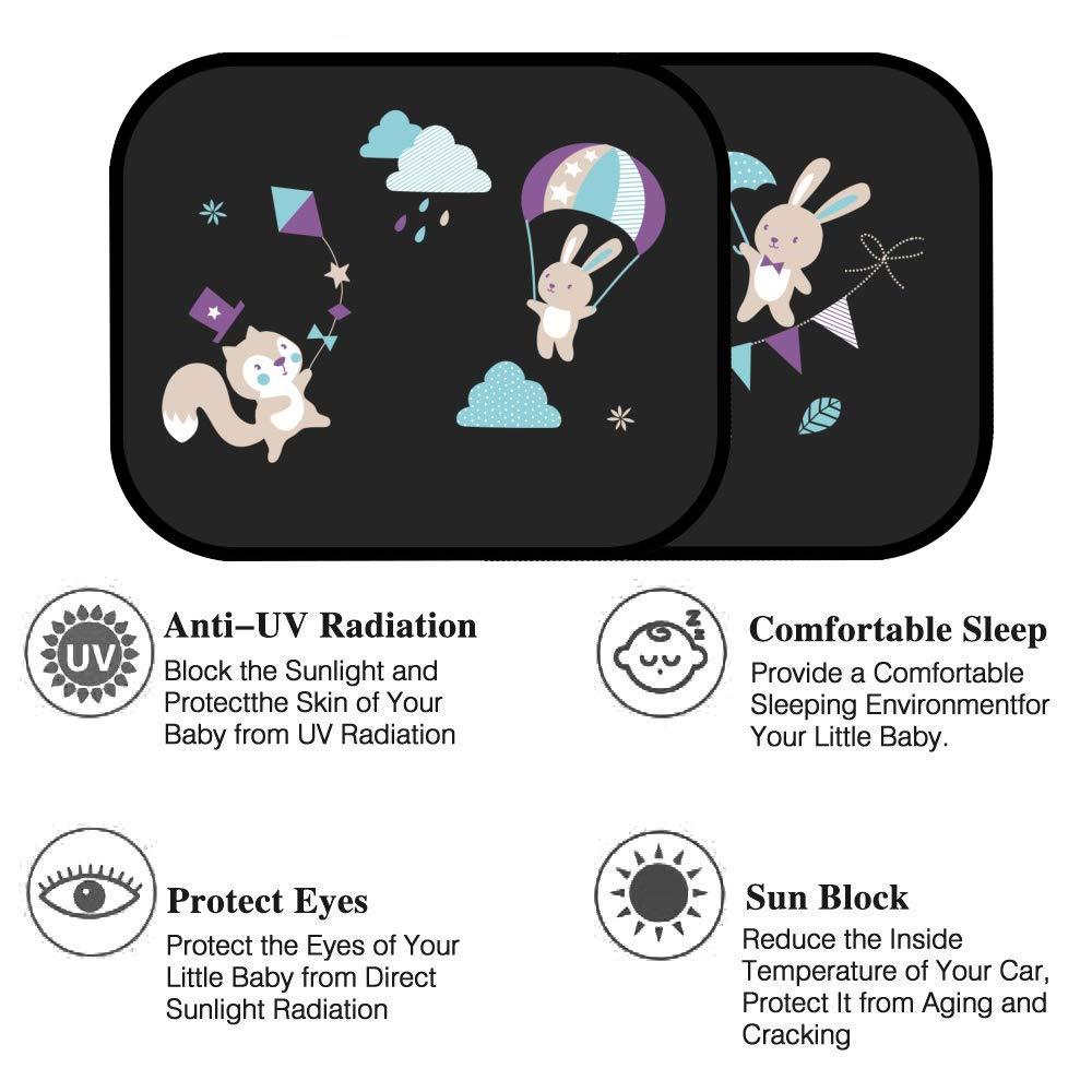 Protezione da Raggi UV per Ragazzi Tende da Sole per Esterno Accessori per Auto Interni Protezione Solare 44x30 cm JIURUN Tendine Parasole Auto per Bambini 2 pcs