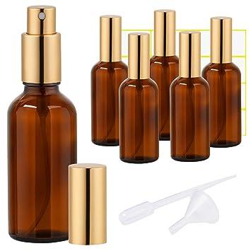 0fb013d651a7 Amber Glass Spray Bottle 4oz for Cologne,Perfume,Essential Oils,Refillable  Golden Fine Mist Sprayers(6 PACK)