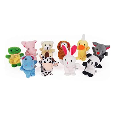 Liobaba 1PC Funny Baby Plush Toy Animal Finger Puppets Double Layer with Feet Storytelling Props Doll Hand Puppet Kids Toys Children Gift Random Color: Home & Kitchen