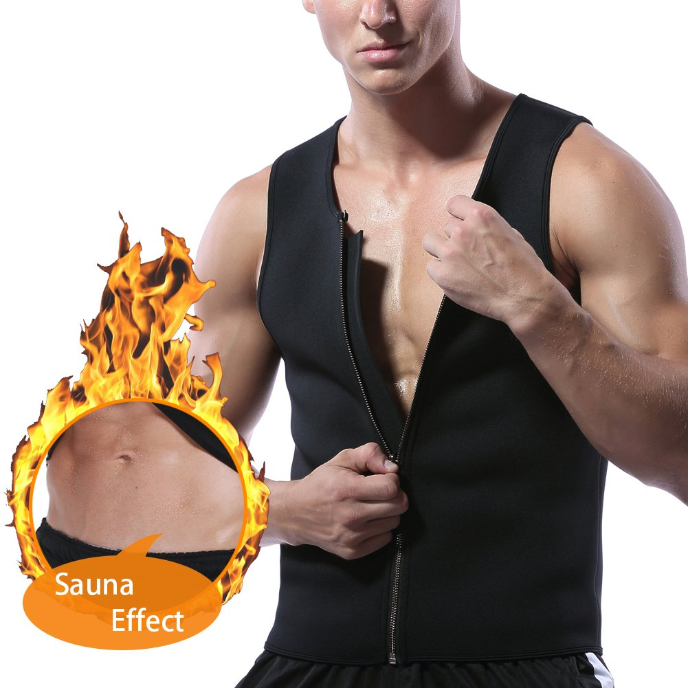 53a969c49a0fd Men Waist Trainer Vest for Weight Loss Neoprene Body Shaper Sauna Tank Top  Workout Sweat Shirt(Black