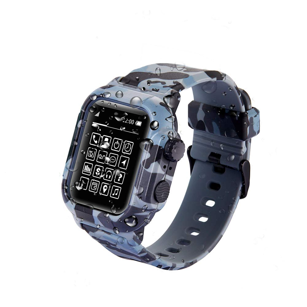for Apple Watch Waterproof Case 42mm, Shock-Proof and Shatter-Resistant Silicone Sport Band for iWatch Replacement Bracelet Strap with Frame Case for iWatch Series 3 2 1 (Camouflage, 42mm)