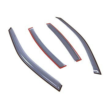 TuningPros LGWV-350 Out-Channel Window Visor Deflector Rain Guard Light Grey 4-pc Set