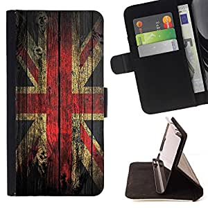 For Samsung Galaxy S5 V SM-G900 Grunge Wood Retro Union Jack Flag Style PU Leather Case Wallet Flip Stand Flap Closure Cover