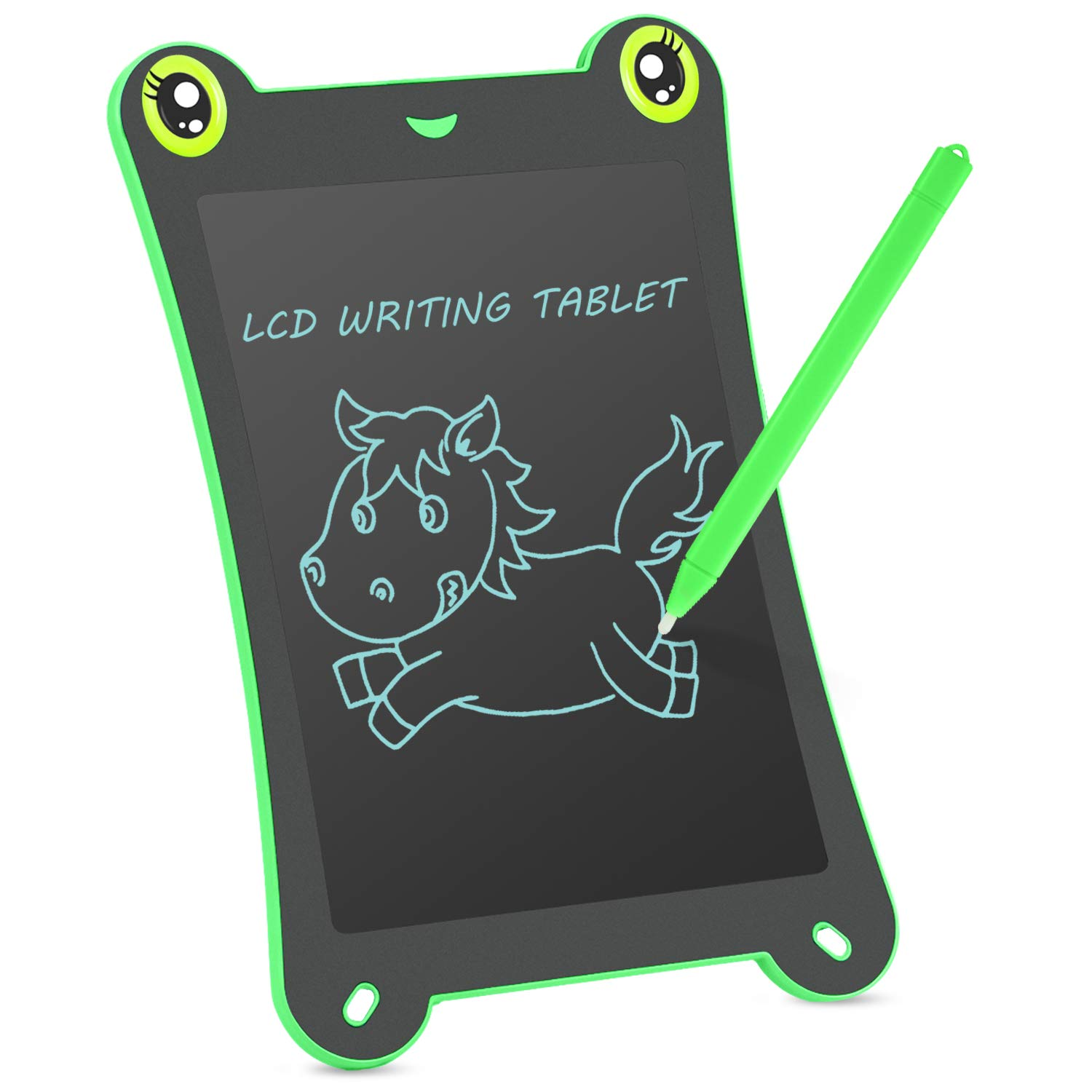 NEWYES Children's Cute Board LCD Writing Tablet NYF850 8.5 inch Frog Handwriting Tablet Graphic Drawing Board Digital Portable Magnetic Durable Touch Pad Boards for Kids 1 Year Warranty (Green-Frog) NY850F-GR