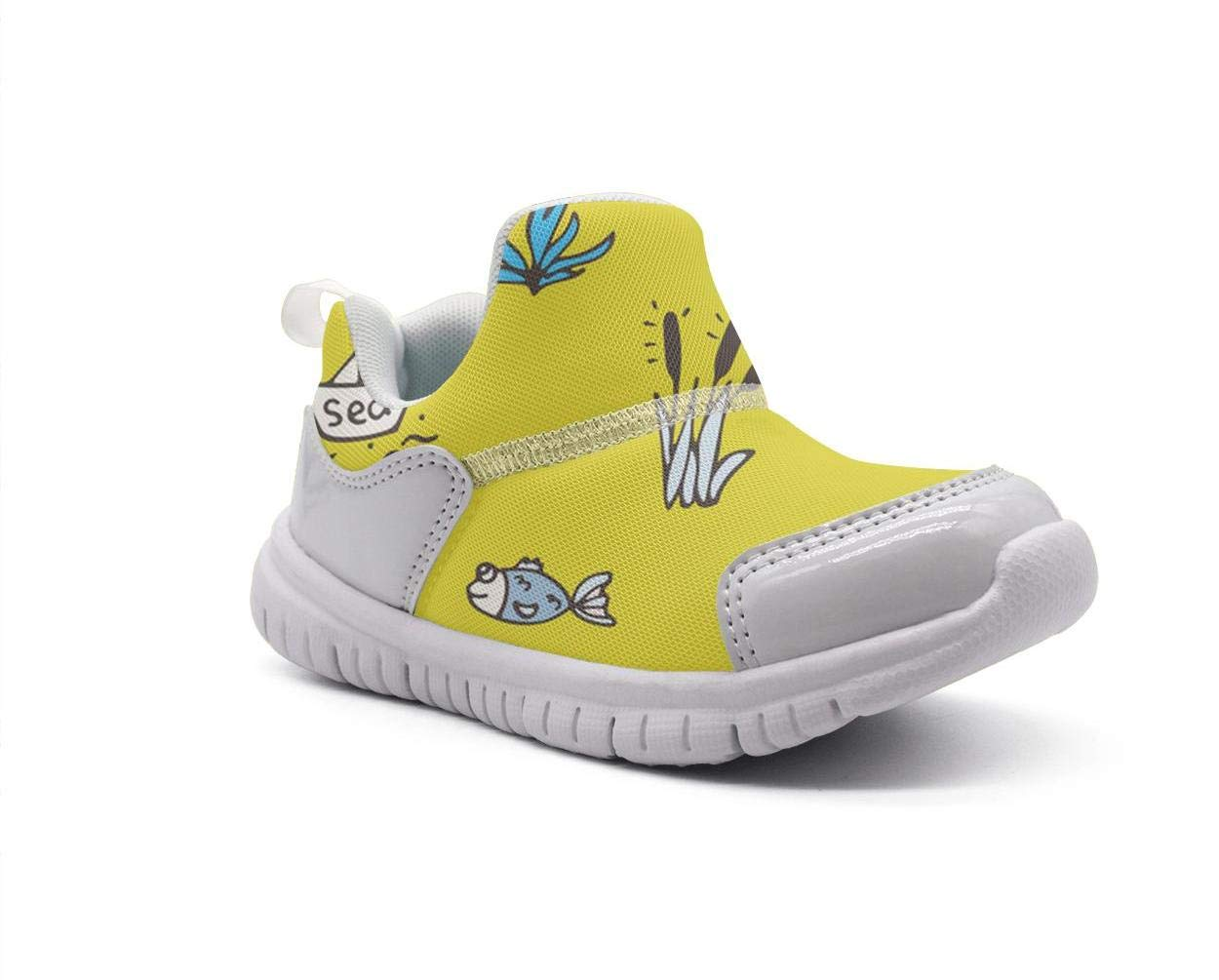 ONEYUAN Children Cool Pandas Bear Fishing Yellow Background Kid Casual Lightweight Sport Shoes Sneakers Walking Athletic Shoes