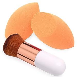 BAIMEI Makeup Sponges with Kabuki Foundation Brush, Latex-Free, Dry or Wet Dual Use, Professional Blender Beauty Sponge for Powder, Cream and Liquid Foundation Application (2 Sponges + 1 Brush)
