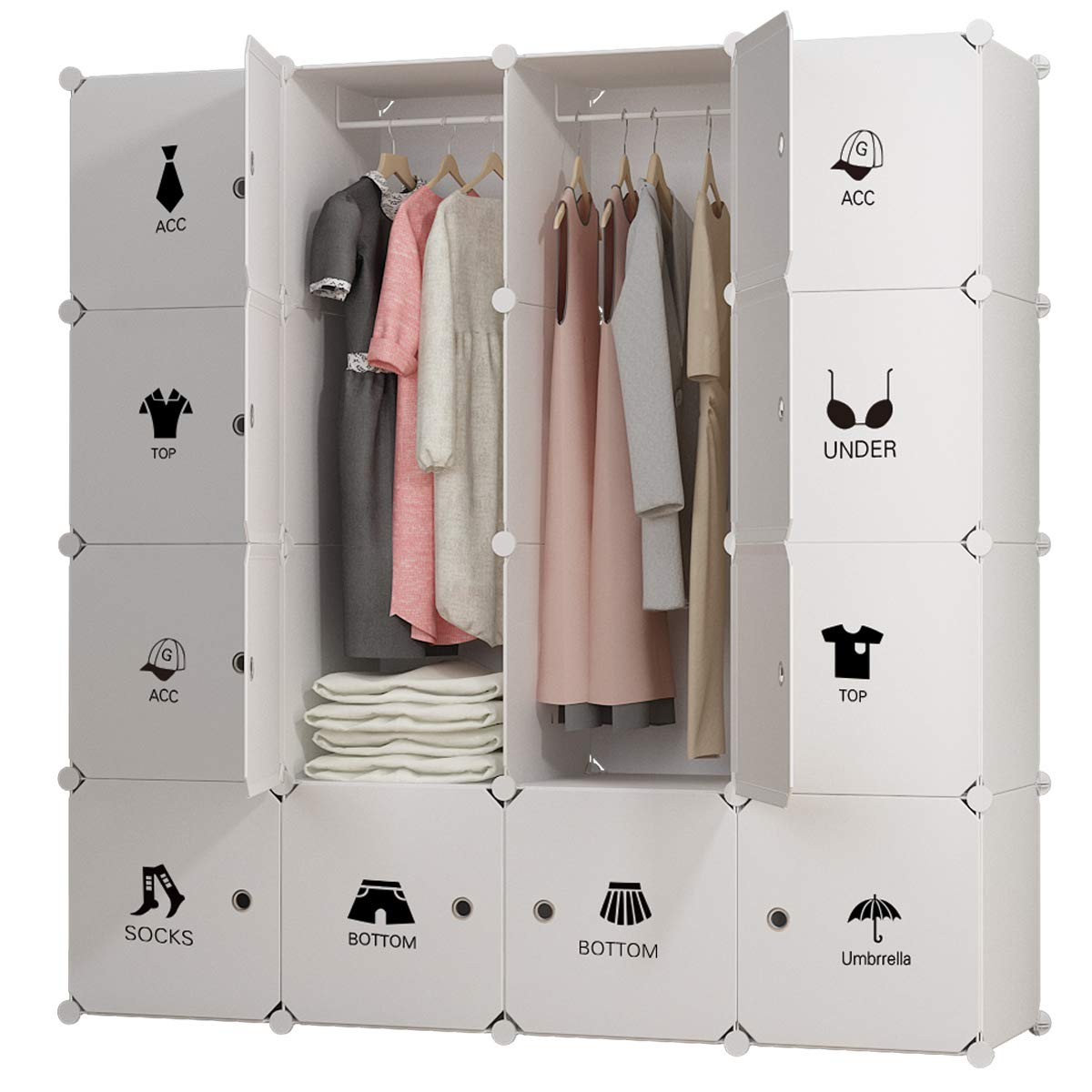 KOUSI Portable Clothes Closet Wardrobe Bedroom Armoire Dresser Cube Storage Organizer, Capacious & Customizable, White, 10 Cubes&2 Hanging Sections xm022-003