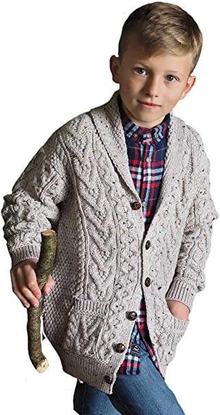 cable knit sweater for kids Knitted shawl collar cardigan in merino wool for kids aged 6 months to 4 years