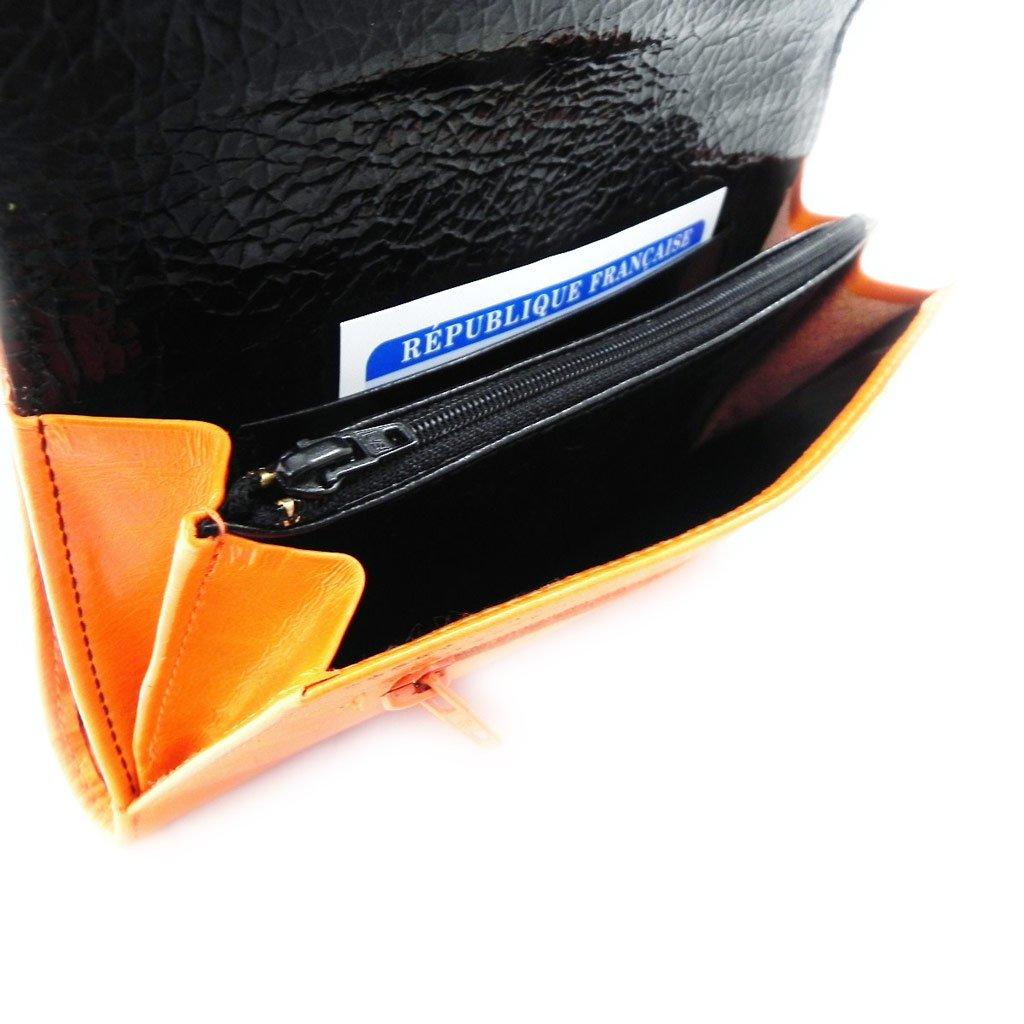 Wallet + checkbook holder leather ''Frandi'' orange black lacquer. by Les Tresors De Lily (Image #9)