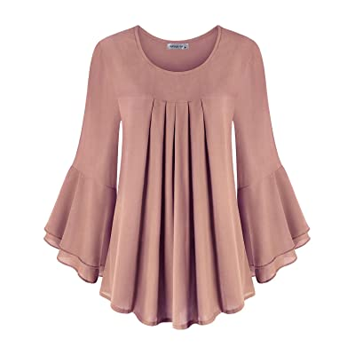 MOQIVGI Womens Fashion Casual Ruffle Long Sleeve Scoop Neck Pleated Chiffon Blouse Tops at Women's Clothing store