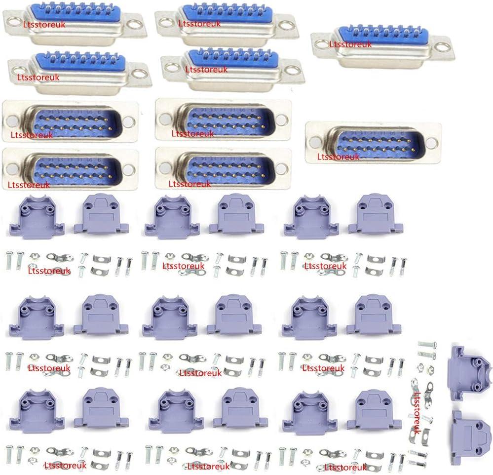 sourcing map 10pz D-Sub DB15 a 15 perni IDC Femmina a crimpare connettore Adattatore per Cavo a Nastro Piatto