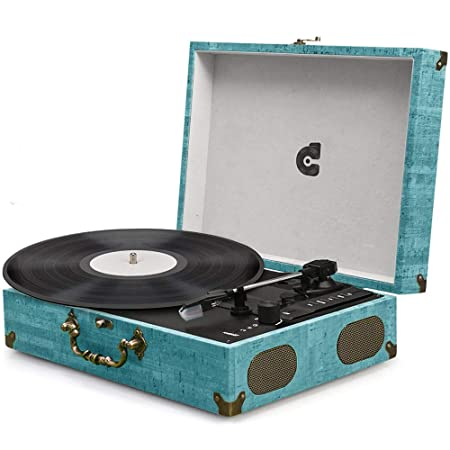 CMC Portable Bluetooth 3 Stereo Speed Turntable with Built in Speakers, Vintage Style Vinyl Record Player, Sky Blue at amazon