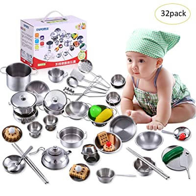 32PCS Kitchen Pretend Play Toys Stainless Steel Play House Toys with Cookware Pots and Pans Set, Cooking Utensils Kit, Learning Gift for Baby Toddlers Kids Girls Boys: Kitchen & Dining
