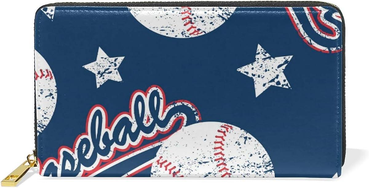 DEZIRO Baseballs And Stars Sports Pattern Lady Purse Zip Around Credit Card Case