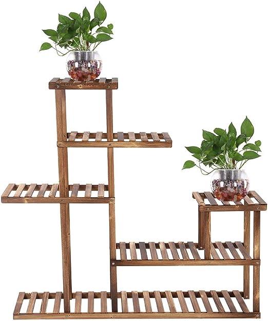 Soporte para Plantas, Varios Niveles Soporte de Madera Escalera para Plantas Estante de Almacenamiento Balcón Jardín Estante de exhibición de Flores para la habitación, Jardín, Tienda, Balcón: Amazon.es: Jardín