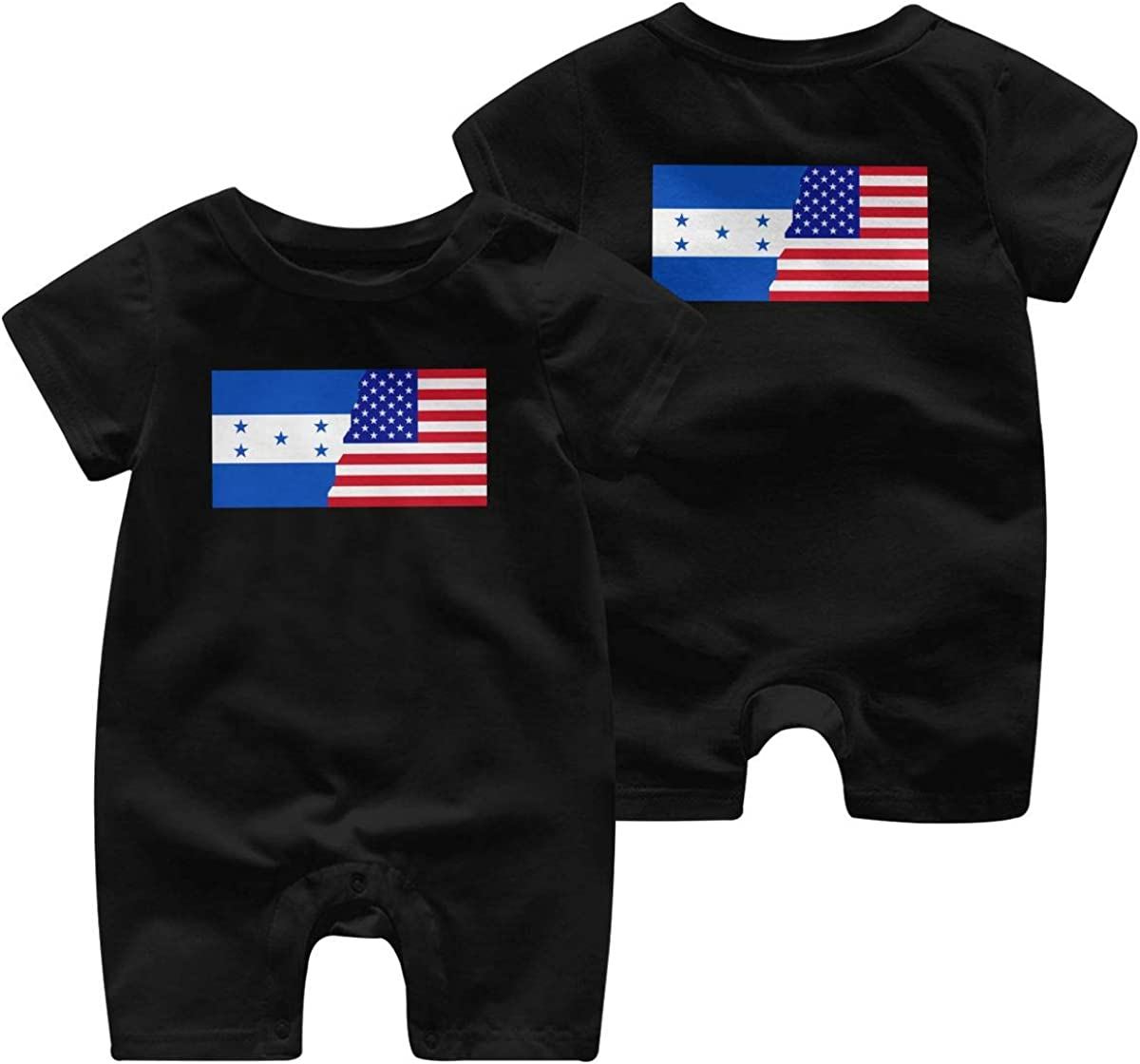 Mri-le1 Baby Girl Short Sleeved Coveralls American Honduras Flag Baby Rompers