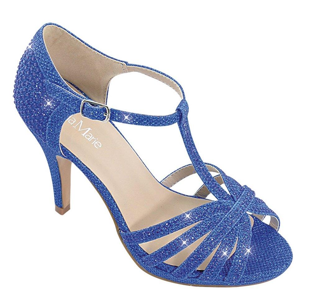 Chicastic Glitter Rhinestone Pumps T- Strap Peep Toe Women's 4.5'' High Heel Platform Bridal, Party, Prom, Wedding Shoes Blue 9