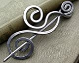 Dancing Swirls Shawl Pin, Aluminum Sweater Brooch, Scarf Pin Handmade in Oregon, Knitters Gift