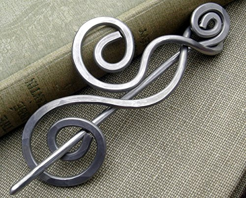 Dancing Swirls Shawl Pin, Aluminum Sweater Brooch, Scarf Pin Handmade in Oregon, Knitters Gift by Nicholas and Felice