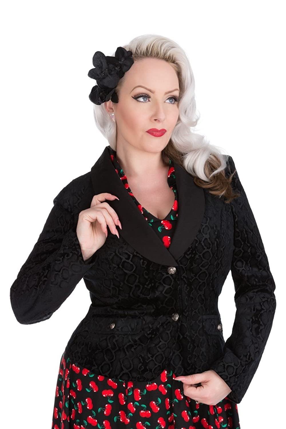 1950s Jackets, Coats, Bolero | Swing, Pin Up, Rockabilly Hearts & Roses Black Leopard Flock Jacket (Shipped from The US and US Sizes) $49.88 AT vintagedancer.com