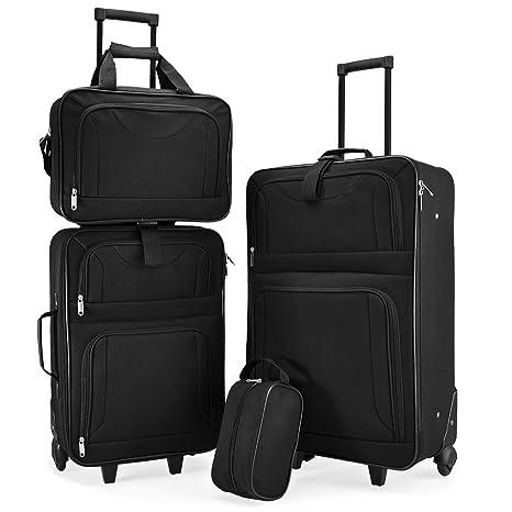 Juego de maletas apilables, 4 maletas, funda y estuche de viaje, color negro