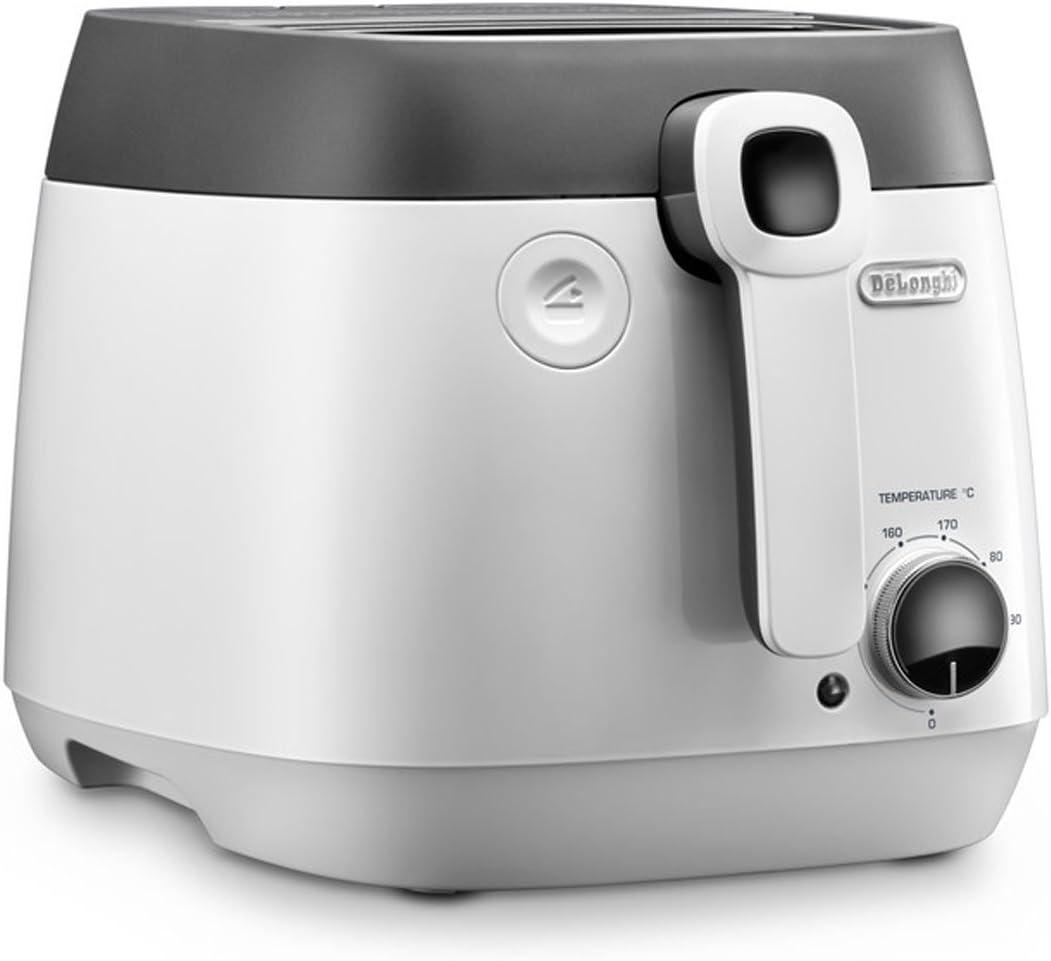 DeLonghi FS6025 2.4 Litre Traditional Deep Fat Fryer, Adjustable Temperature Control, Anti-Odour Filter, 1800 W, White