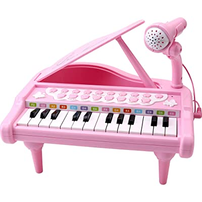 Amy&Benton Toddler Piano Toy Keyboard Pink for Girls Birthday Gift 1 2 3 4 Years Old Kids 24 Keys Multifunctional Toy Piano: Toys & Games