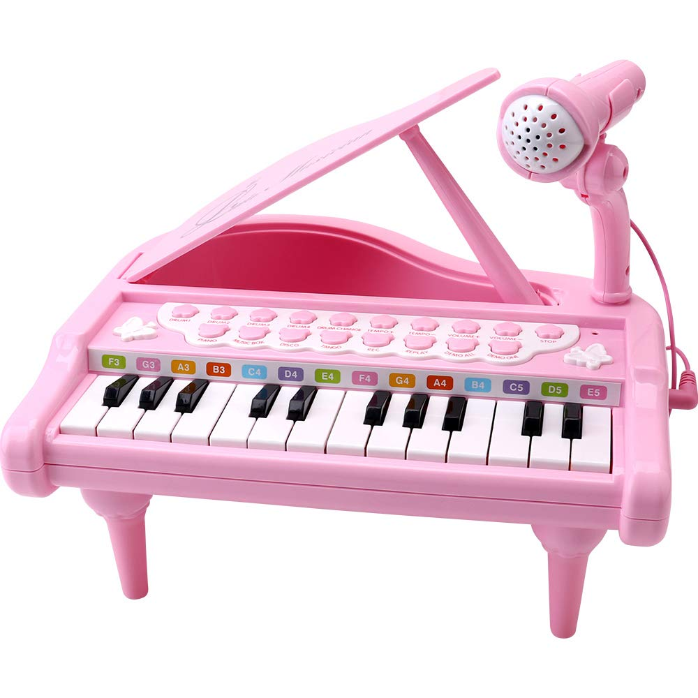 Amy&Benton Toddler Piano Toy Keyboard Pink for Girls Birthday Gift 1 2 3 4 Years Old Kids 24 Keys Multifunctional Toy Piano by Amy & Benton