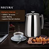 Secura French Press Coffee Maker, 34-Ounce, 18/10
