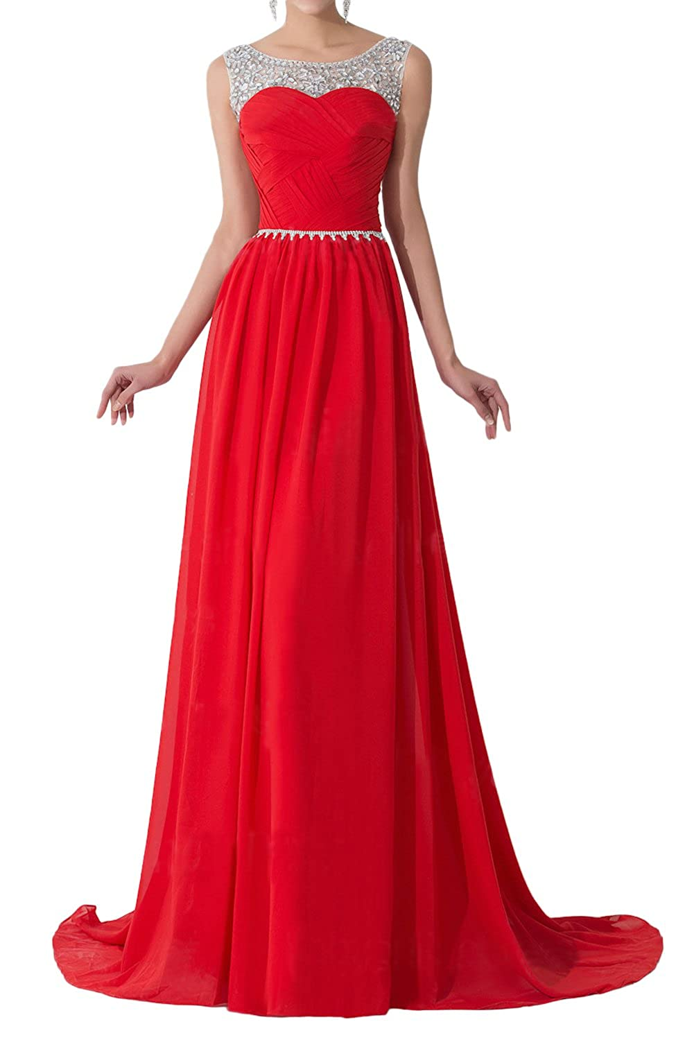 e53531f438c DINGZAN Chiffon Evening Prom Bridesmaid Dresses Sheer Sequined Straps at  Amazon Women s Clothing store