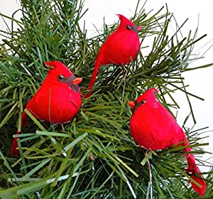 12 Bright Red Artificial Cardinal Birds for Christmas Tree Ornaments, 3.5 inch, by Lamplight Feather, Inc.