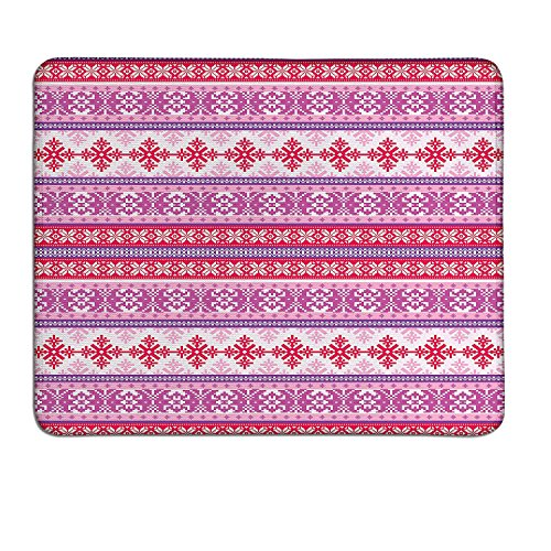 Nordic mouse pad Geometric Abstract Snowflake Pattern European Ornamental Knitting Designcustom mouse pad Lilac Dark Coral White (Snowflake Knitting Pattern)