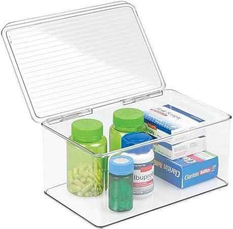 mDesign organizador de maquillaje con tapa abatible - Cajonera plástico multiusos ideal para guardar sus vitaminas, medicamentos, cosméticos o cremas: Amazon.es: Hogar