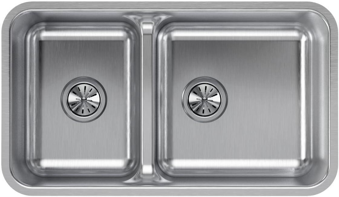 Elkay ELUHAQD32179 Lustertone Classic 40 60 Double Bowl Undermount Stainless Steel Sink with Aqua Divide
