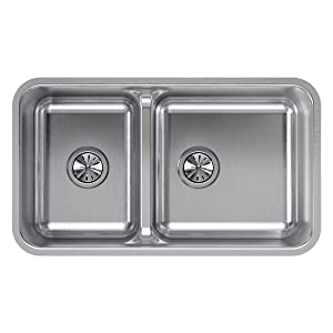Elkay Lustertone ELUHAQD32179 40/60 Double Bowl Undermount Stainless Steel Sink with Aqua Divide
