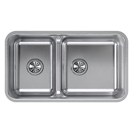 Magnificent Elkay Eluhaqd32179 Lustertone Classic 40 60 Double Bowl Undermount Stainless Steel Sink With Aqua Divide Home Interior And Landscaping Eliaenasavecom