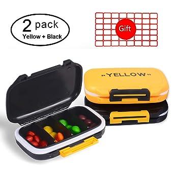 2 Pack Yellow + Black Pill Cases, Fashion Pill Organizer Travel Pill Case  Medical Pill Box Dispenser for Vitamins Supplements Medicine Box - 4
