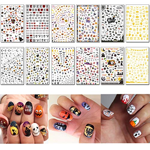 TailaiMei 1500 Pcs Halloween Nail Decals Stickers, 12 Sheets Self-adhesive DIY Nail Art Tips Stencil for Halloween Party, Include Pumpkin/Bat/Ghost/Witch etc (Holiday Nail Stencils)