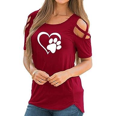 SKNSM Moda Mujeres rojas cuello redondo de manga corta fuera del hombro Impreso en forma de corazón del pie del perro camiseta impresa superior para Lady: ...