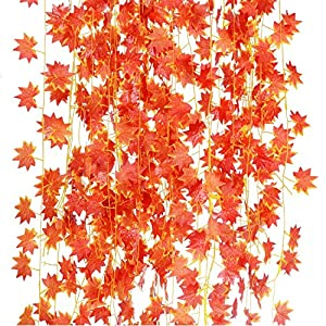 YSBER 12pcs 92 Inch Artificial Ivy Red Maple Leaf Leaves Garland Plants Vine Fake Foliage Flower Home Garden Decorations 10