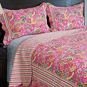 2 Piece Girls Hippie Quilt Twin Set, Multi Floral Bohemian Bedding, Teal Blue Purple Pink Floral Prints, Indie Inspired Hippy Spirit, Paisley Flowers, Beautiful Pattern, Vibrant Rainbow Themed