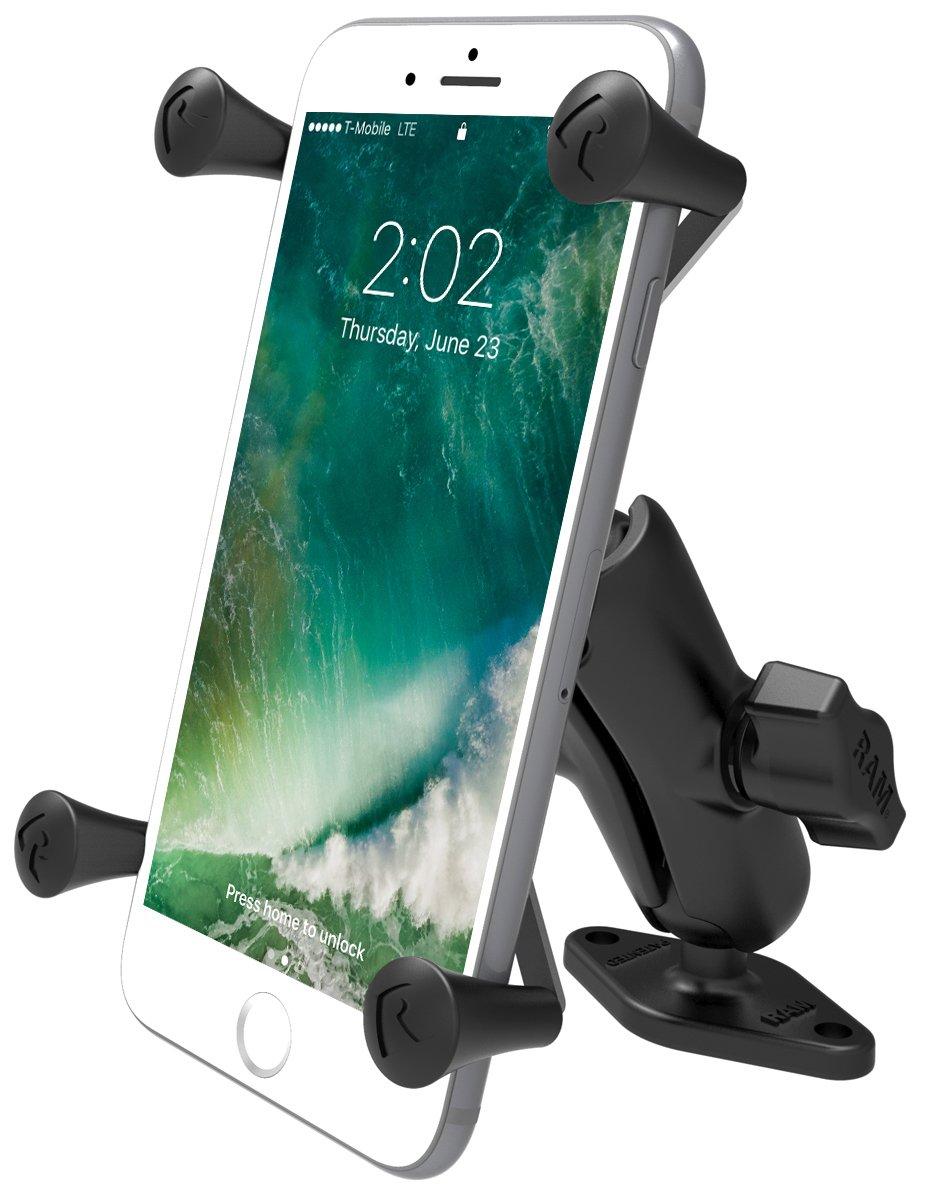 RAM MOUNTS (RAM-B-102-UN10U 1'' Diameter Ball Mount with Diamond Base & Universal X-Grip Iv Large Phone/Phablet Holder